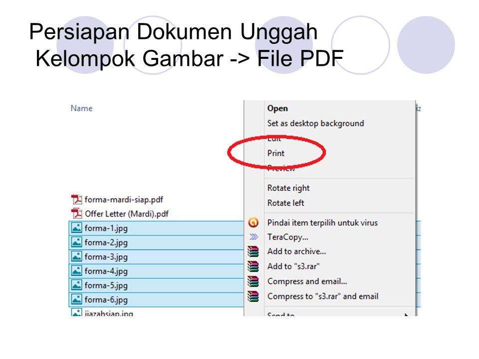 Persiapan Dokumen Unggah Kelompok Gambar -> File PDF