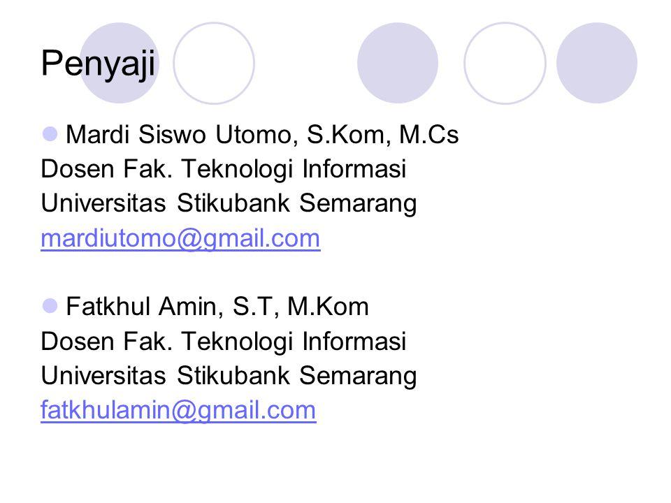 Penyaji Mardi Siswo Utomo, S.Kom, M.Cs Dosen Fak. Teknologi Informasi