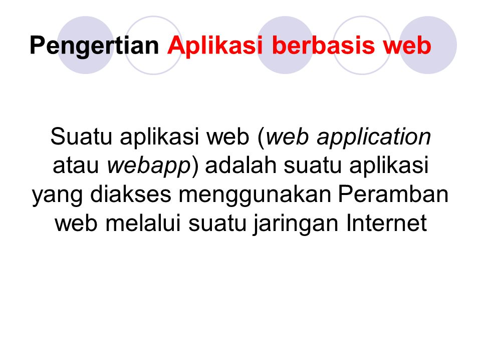 Pengertian Aplikasi berbasis web