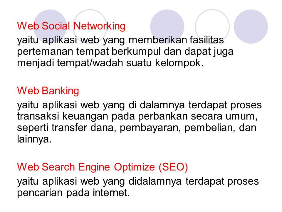 Web Social Networking yaitu aplikasi web yang memberikan fasilitas pertemanan tempat berkumpul dan dapat juga menjadi tempat/wadah suatu kelompok.