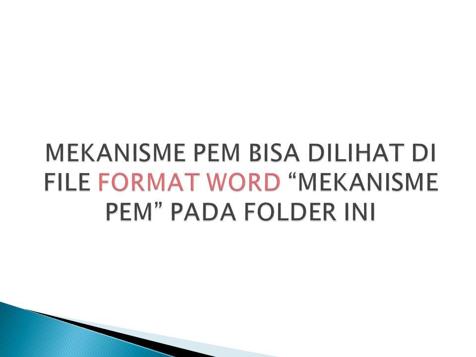 MEKANISME PEM BISA DILIHAT DI FILE FORMAT WORD MEKANISME PEM PADA FOLDER INI