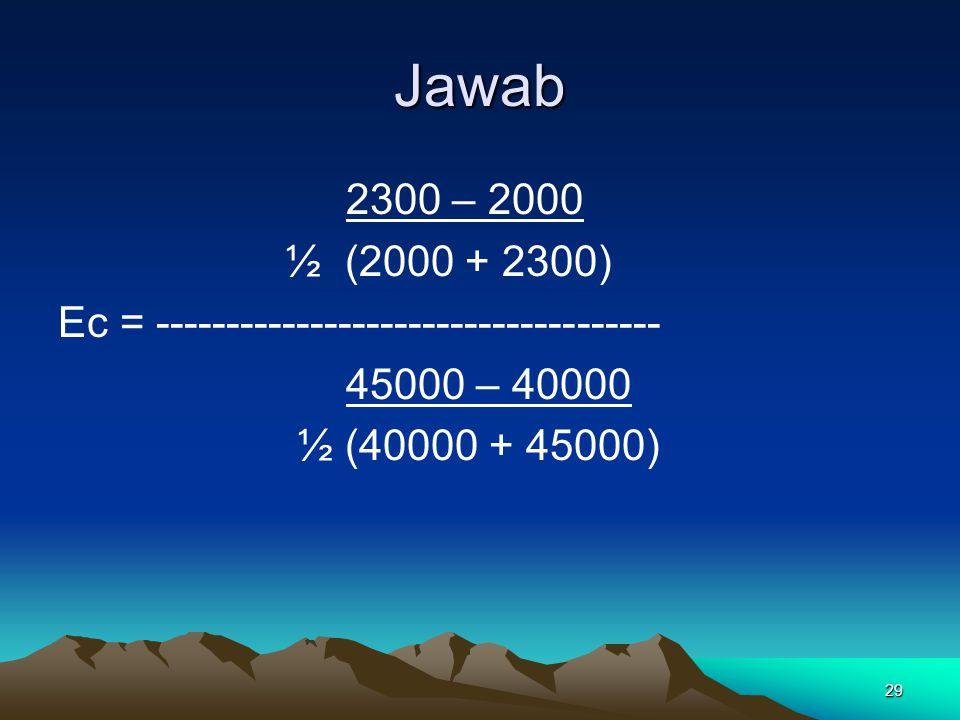Jawab 2300 – 2000. ½ (2000 + 2300) Ec = ------------------------------------ 45000 – 40000.