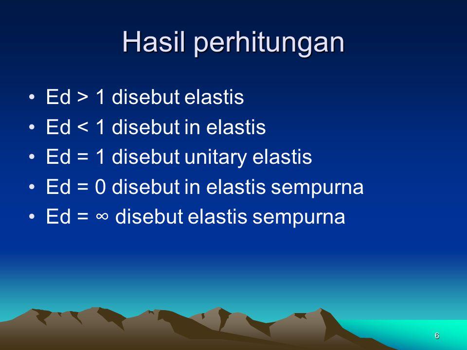 Hasil perhitungan Ed > 1 disebut elastis