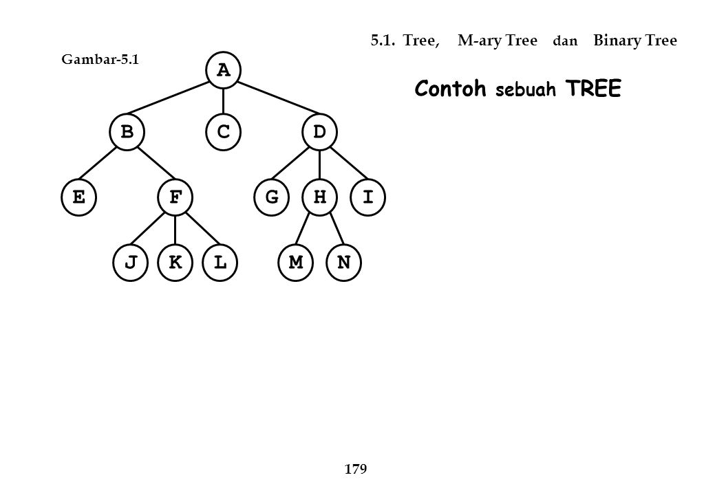 A C B D E F I H G N M J K L Contoh sebuah TREE