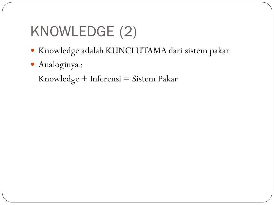 KNOWLEDGE (2) Knowledge adalah KUNCI UTAMA dari sistem pakar.