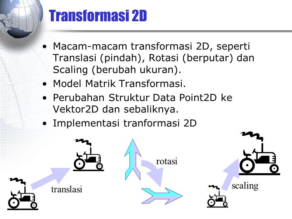 Transformasi 2D Macam-macam transformasi 2D, seperti Translasi (pindah), Rotasi (berputar) dan Scaling (berubah ukuran).