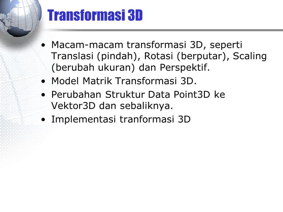 Transformasi 3D Macam-macam transformasi 3D, seperti Translasi (pindah), Rotasi (berputar), Scaling (berubah ukuran) dan Perspektif.
