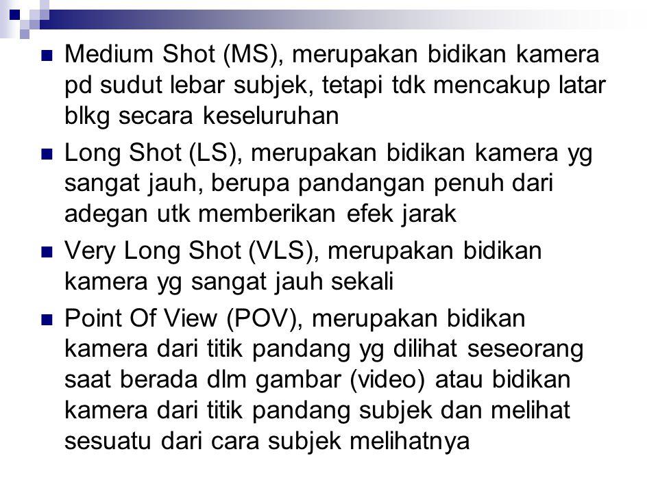 Medium Shot (MS), merupakan bidikan kamera pd sudut lebar subjek, tetapi tdk mencakup latar blkg secara keseluruhan