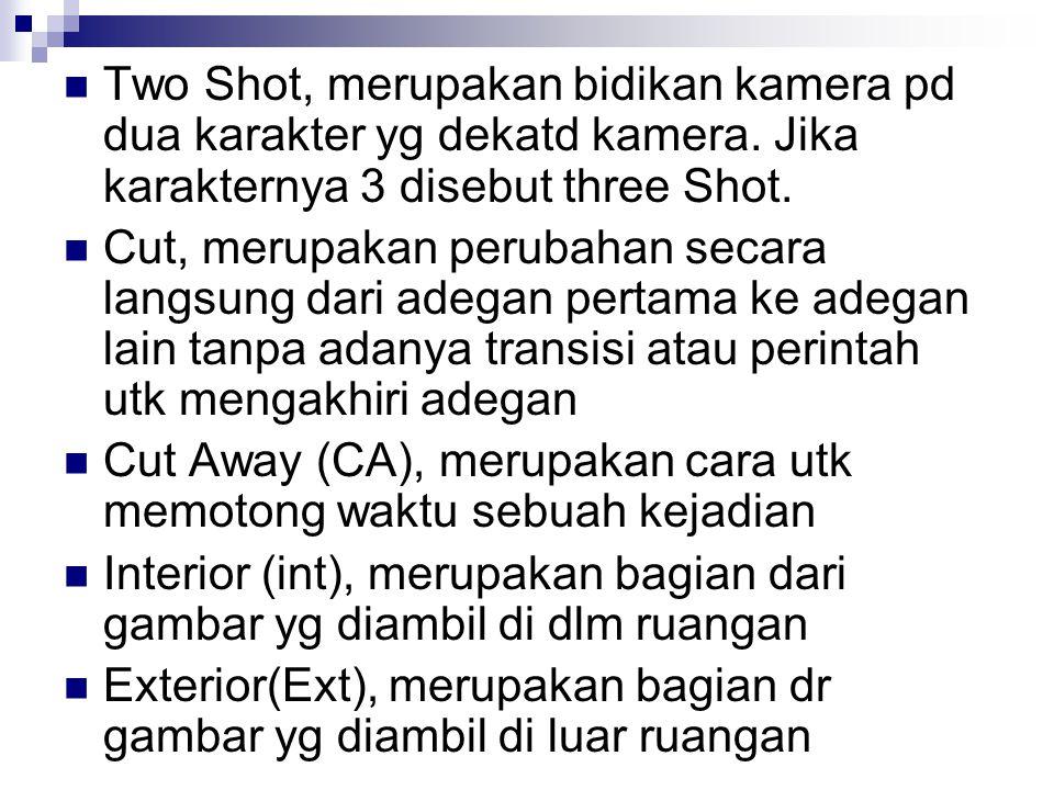 Two Shot, merupakan bidikan kamera pd dua karakter yg dekatd kamera