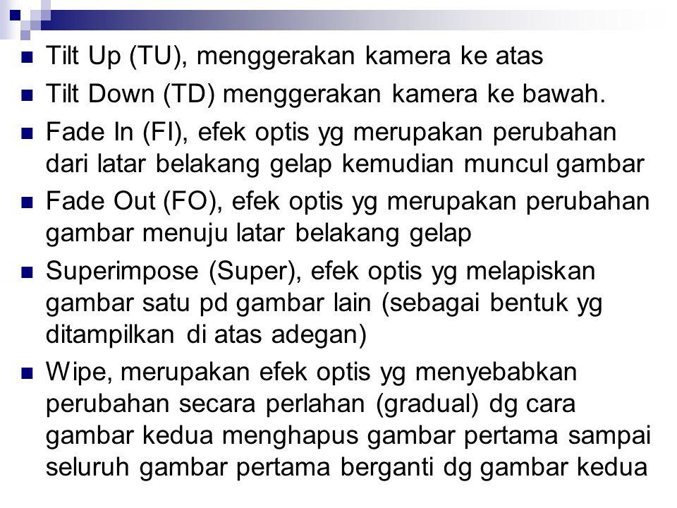 Tilt Up (TU), menggerakan kamera ke atas