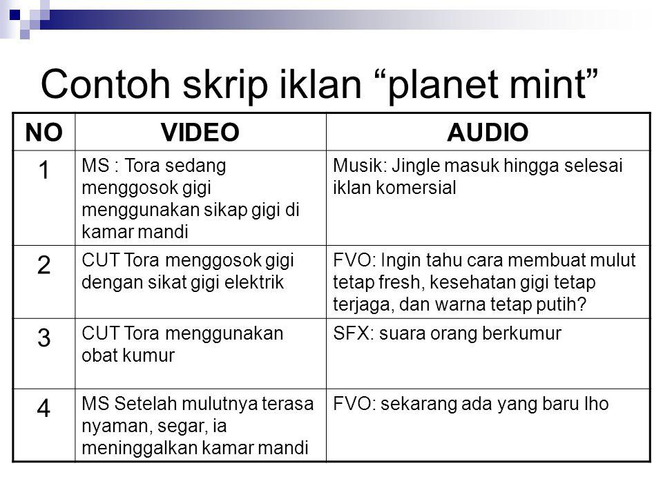 Contoh skrip iklan planet mint
