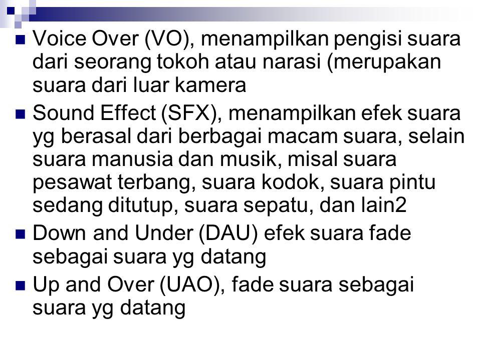 Voice Over (VO), menampilkan pengisi suara dari seorang tokoh atau narasi (merupakan suara dari luar kamera