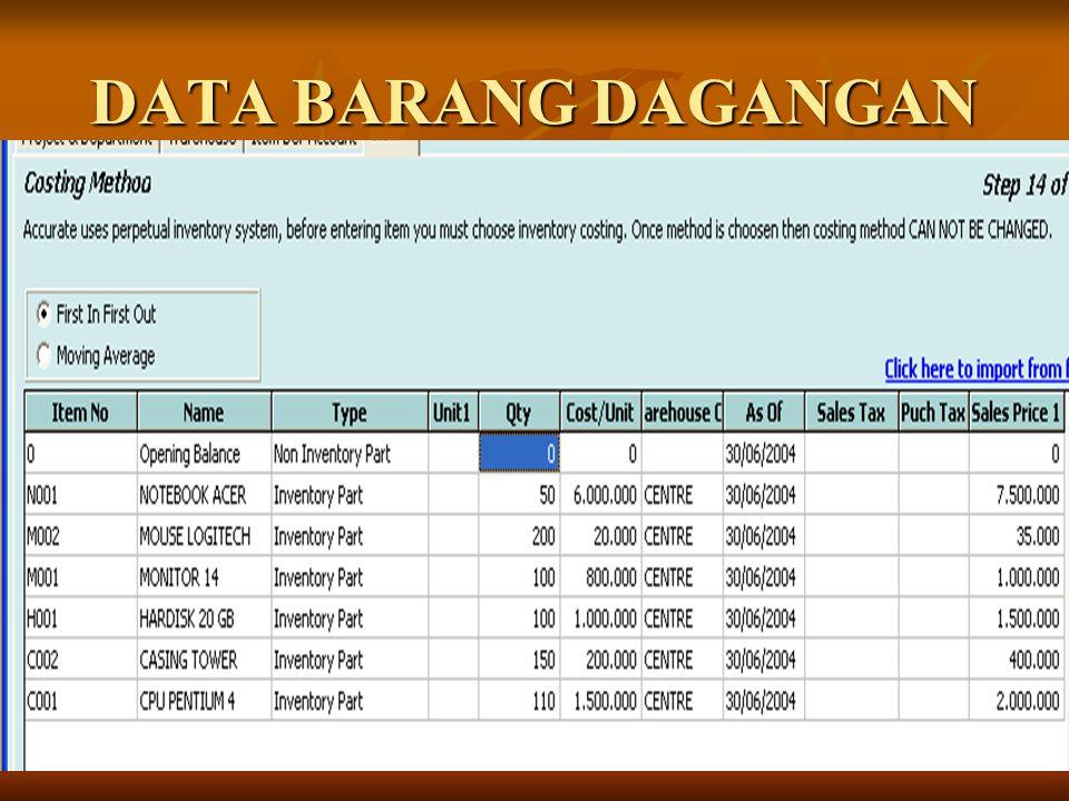 DATA BARANG DAGANGAN