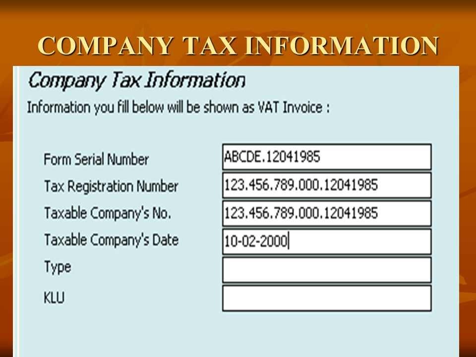 COMPANY TAX INFORMATION