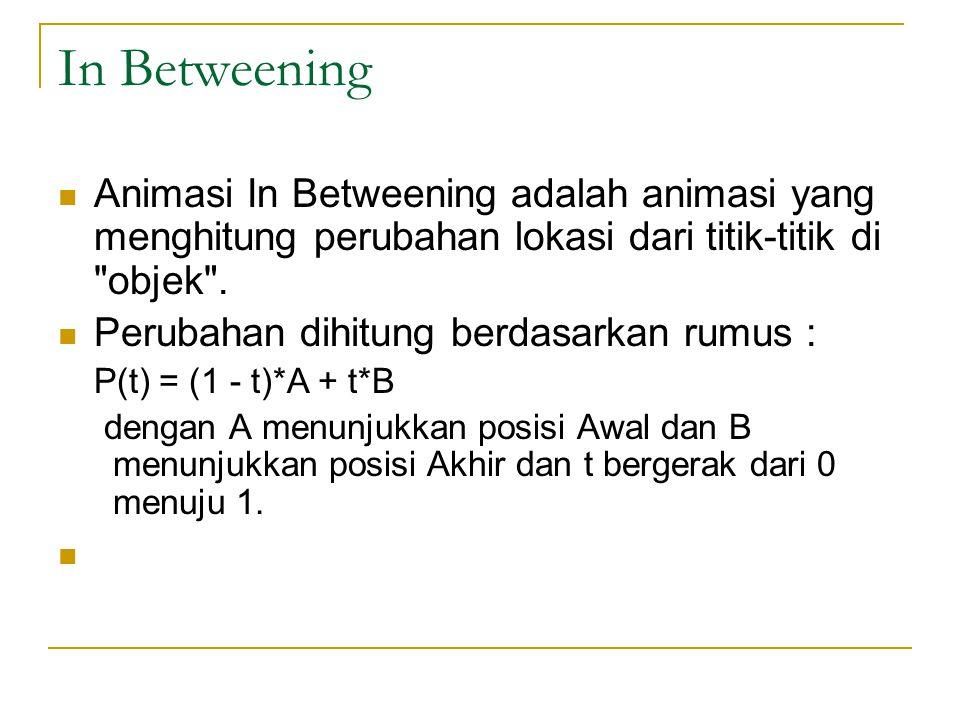 In Betweening Animasi In Betweening adalah animasi yang menghitung perubahan lokasi dari titik-titik di objek .