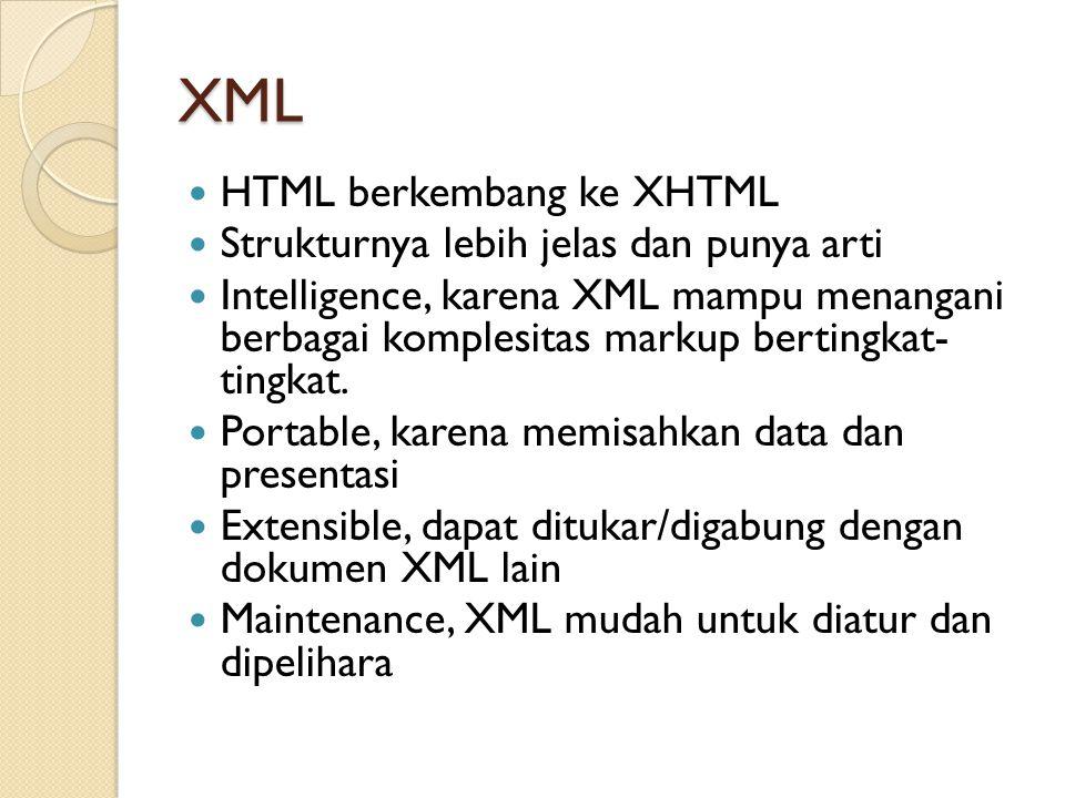 XML HTML berkembang ke XHTML Strukturnya lebih jelas dan punya arti
