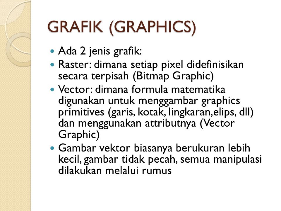 GRAFIK (GRAPHICS) Ada 2 jenis grafik: