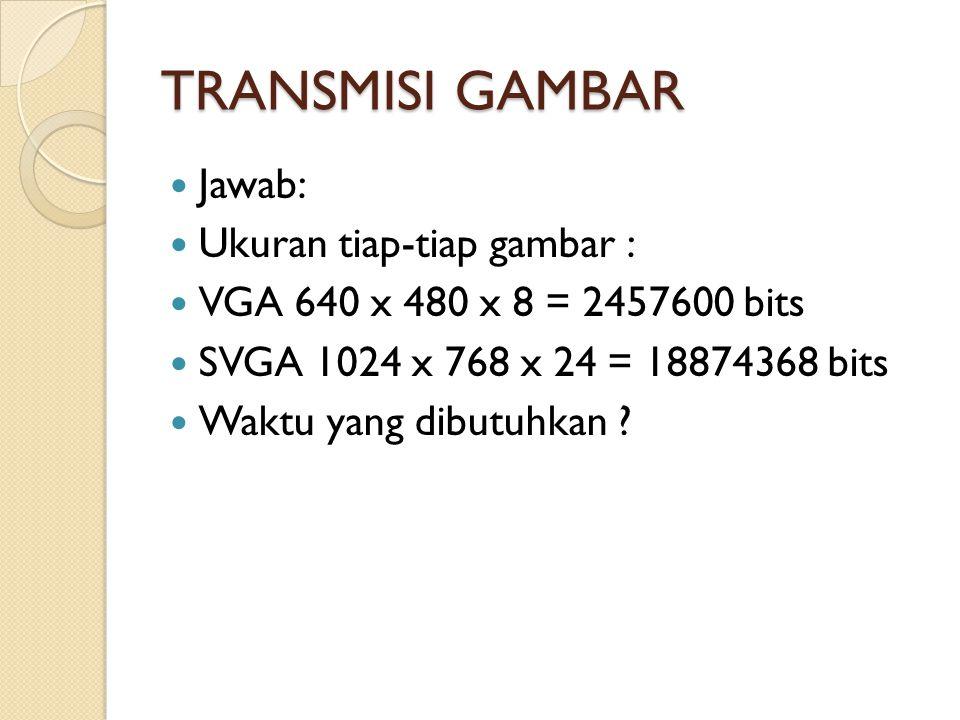 TRANSMISI GAMBAR Jawab: Ukuran tiap-tiap gambar :