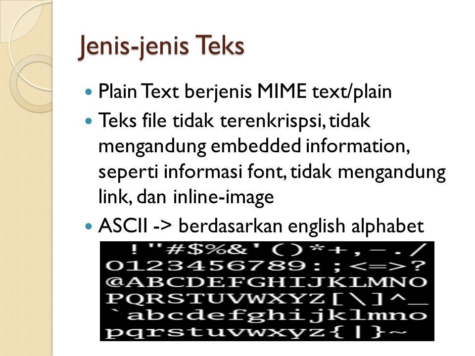 Jenis-jenis Teks Plain Text berjenis MIME text/plain