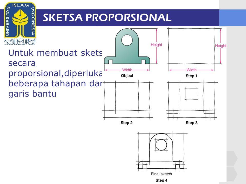 SKETSA PROPORSIONAL Untuk membuat sketsa secara proporsional,diperlukan beberapa tahapan dan garis bantu.