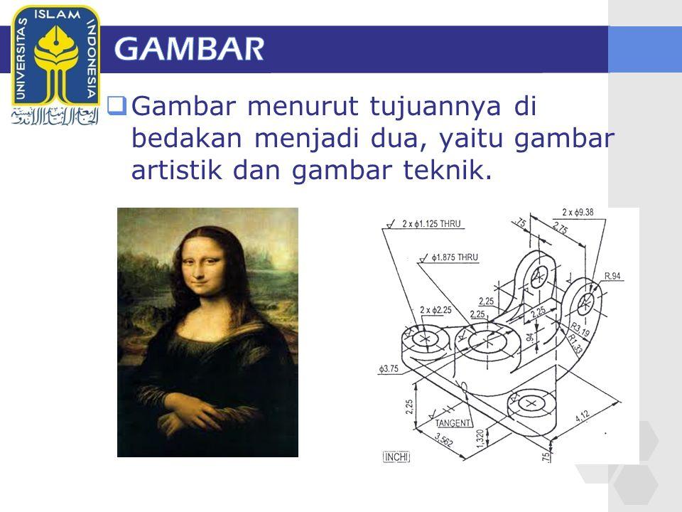 GAMBAR Gambar menurut tujuannya di bedakan menjadi dua, yaitu gambar artistik dan gambar teknik.