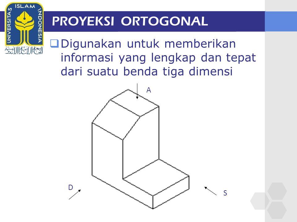 PROYEKSI ORTOGONAL Digunakan untuk memberikan informasi yang lengkap dan tepat dari suatu benda tiga dimensi.