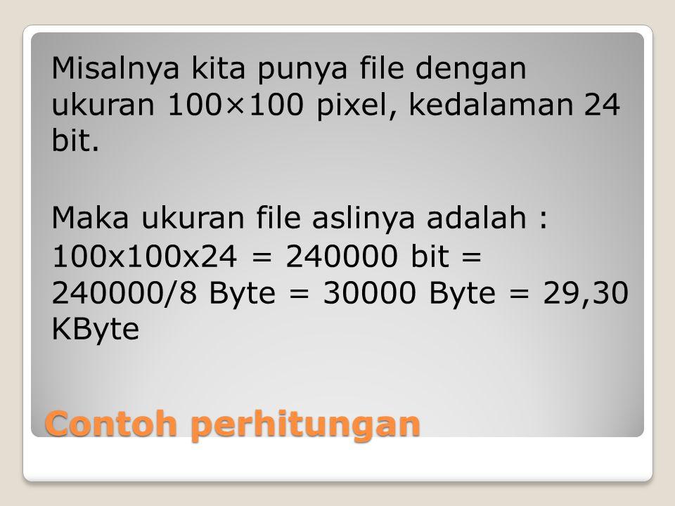 Misalnya kita punya file dengan ukuran 100×100 pixel, kedalaman 24 bit