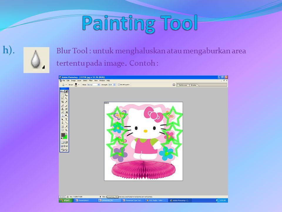 Painting Tool h). Blur Tool : untuk menghaluskan atau mengaburkan area tertentu pada image.