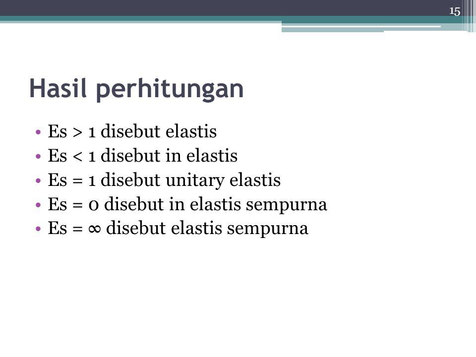 Hasil perhitungan Es > 1 disebut elastis