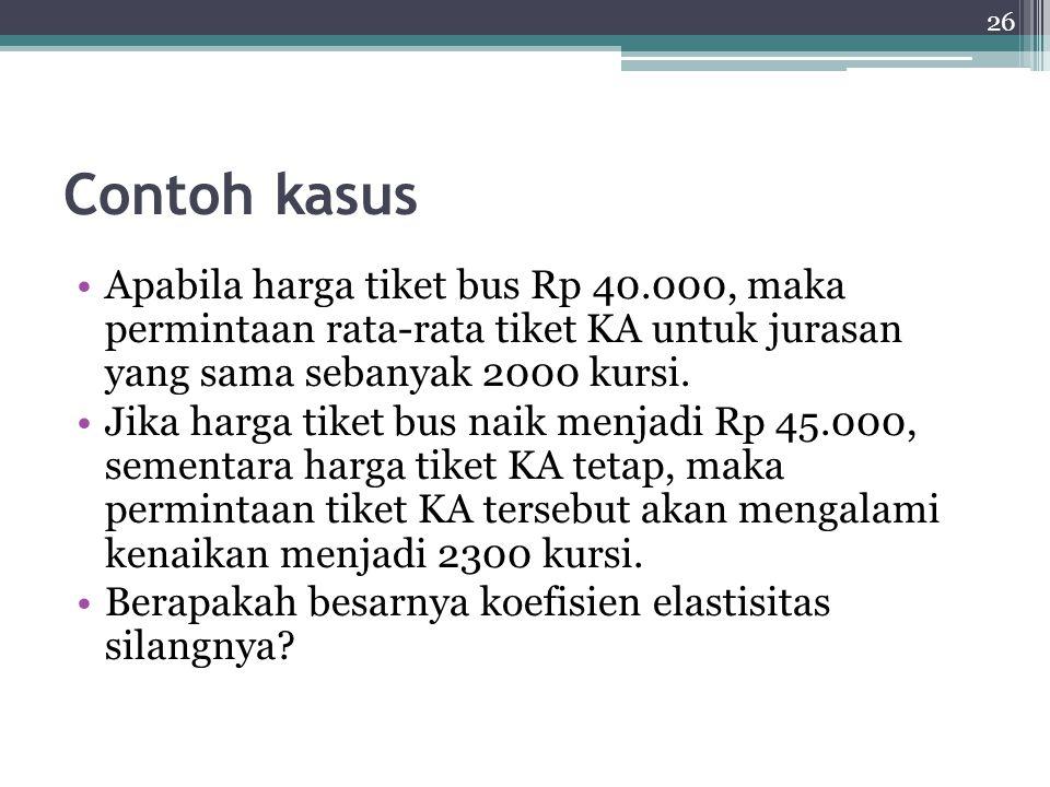 Contoh kasus Apabila harga tiket bus Rp 40.000, maka permintaan rata-rata tiket KA untuk jurasan yang sama sebanyak 2000 kursi.