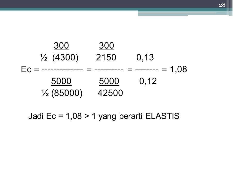 Ec = -------------- = ---------- = -------- = 1,08 5000 5000 0,12