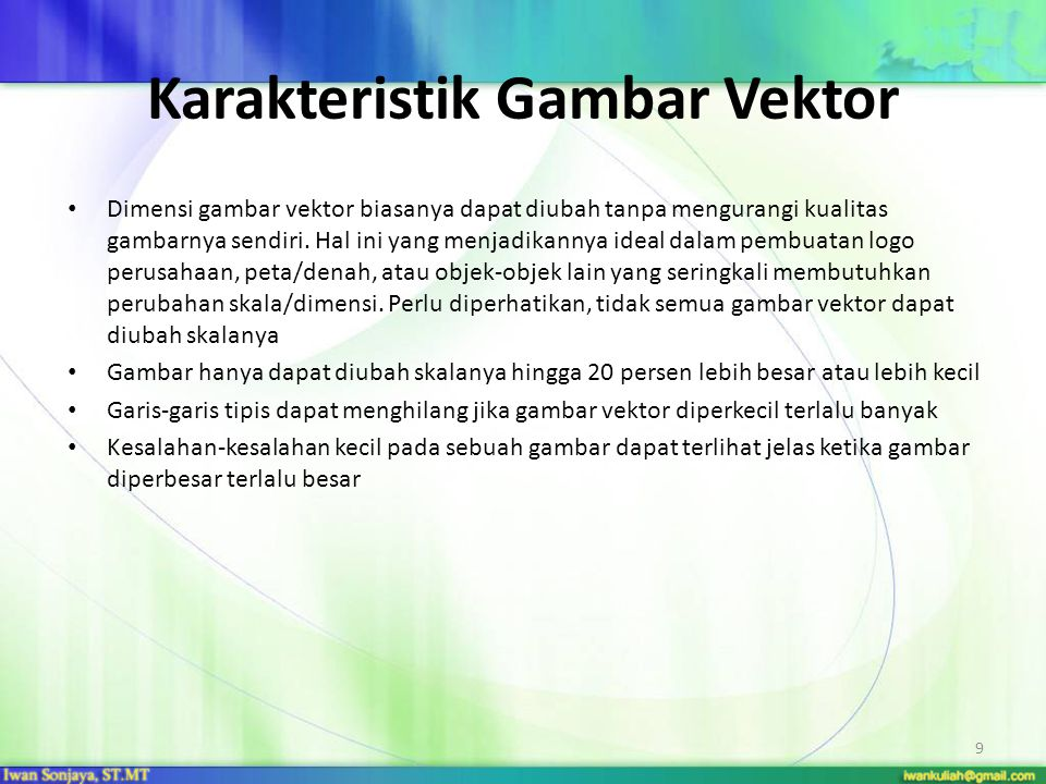 Karakteristik Gambar Vektor