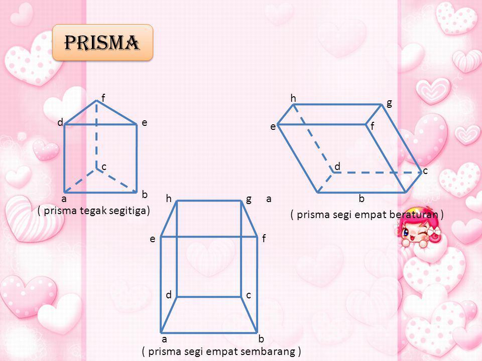 PRISMA f h g d e e f c d c b a h g a b ( prisma tegak segitiga)