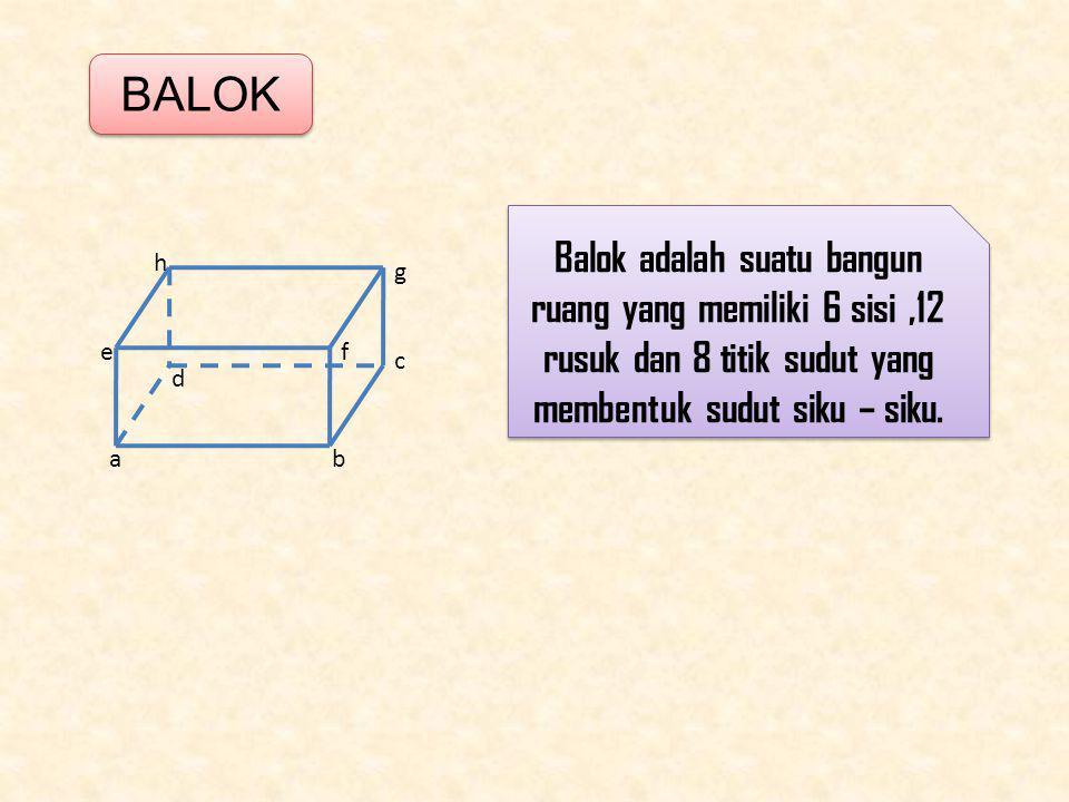 BALOK Balok adalah suatu bangun ruang yang memiliki 6 sisi ,12 rusuk dan 8 titik sudut yang membentuk sudut siku – siku.