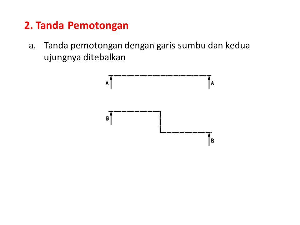 2. Tanda Pemotongan Tanda pemotongan dengan garis sumbu dan kedua ujungnya ditebalkan