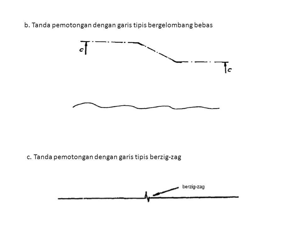 b. Tanda pemotongan dengan garis tipis bergelombang bebas
