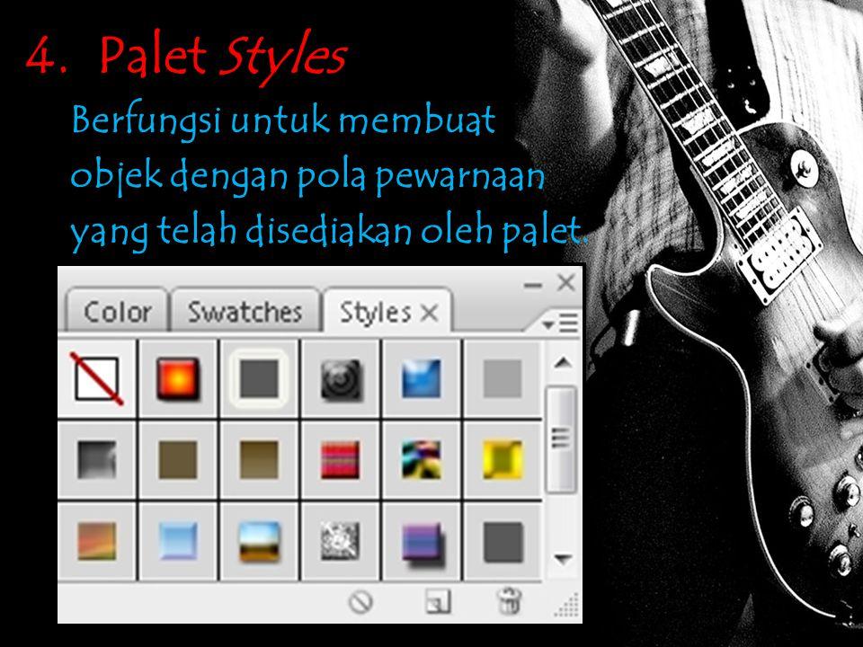 4. Palet Styles Berfungsi untuk membuat objek dengan pola pewarnaan