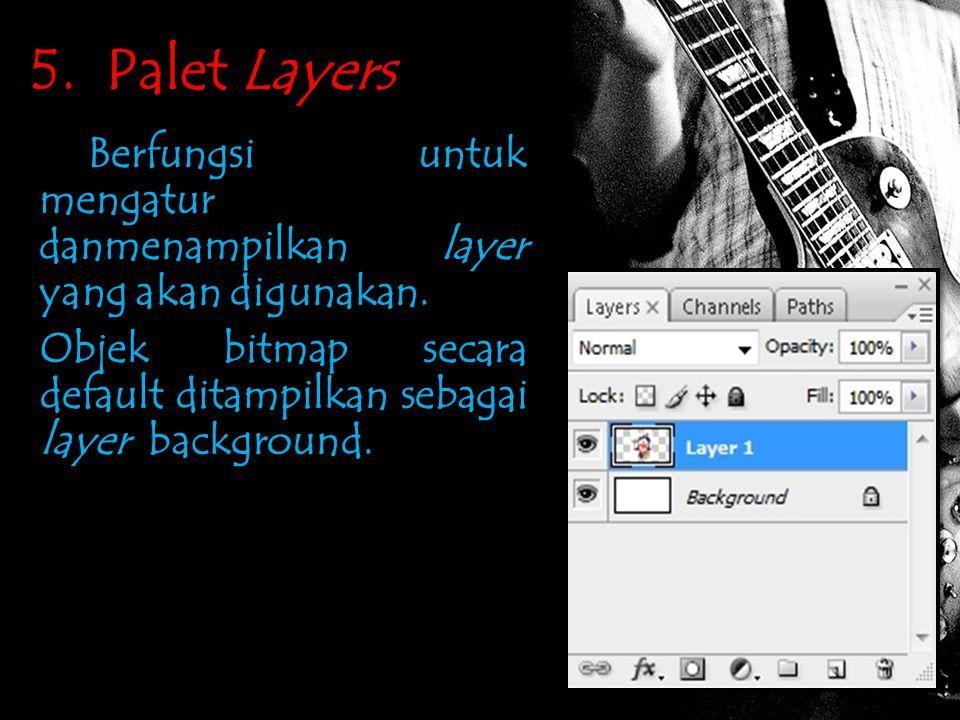 5. Palet Layers Berfungsi untuk mengatur danmenampilkan layer yang akan digunakan.