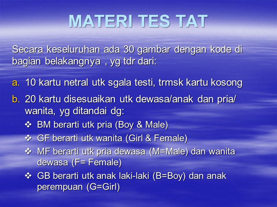MATERI TES TAT Secara keseluruhan ada 30 gambar dengan kode di bagian belakangnya , yg tdr dari: