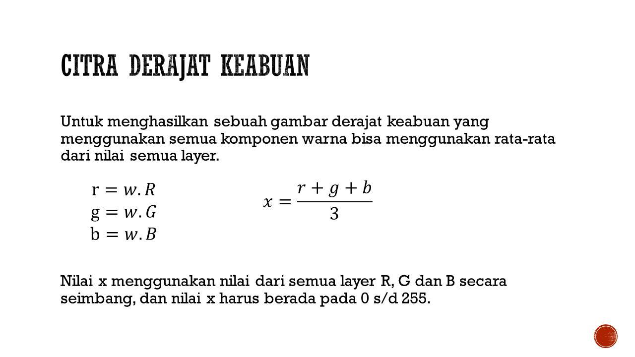 Citra Derajat Keabuan r=𝑤.𝑅 g=𝑤.𝐺 b=𝑤.𝐵 𝑥= 𝑟+𝑔+𝑏 3
