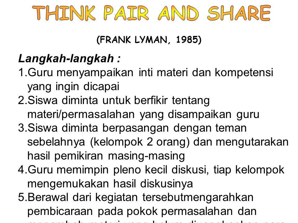 THINK PAIR AND SHARE Langkah-langkah :