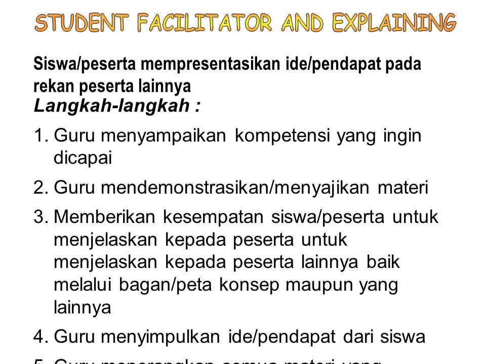 STUDENT FACILITATOR AND EXPLAINING
