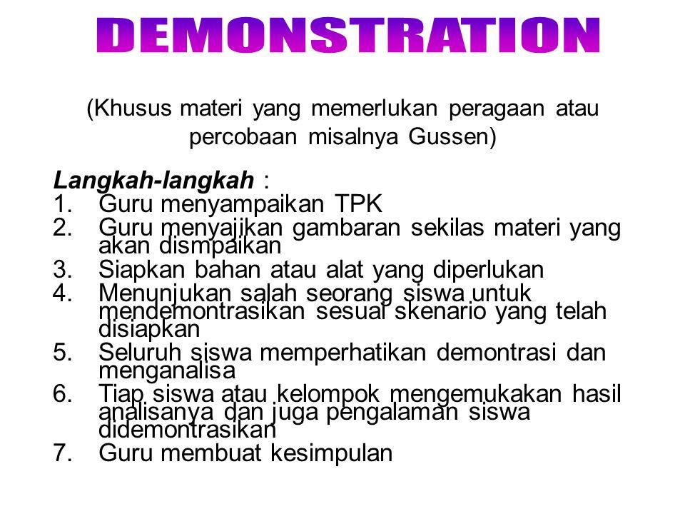 DEMONSTRATION Langkah-langkah : Guru menyampaikan TPK