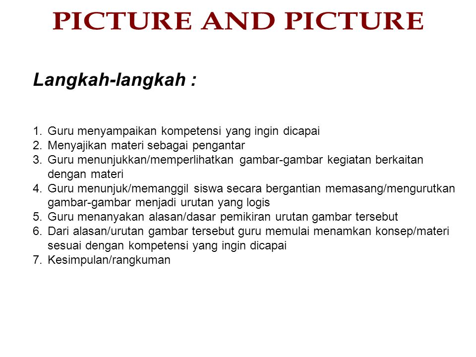 PICTURE AND PICTURE Langkah-langkah :