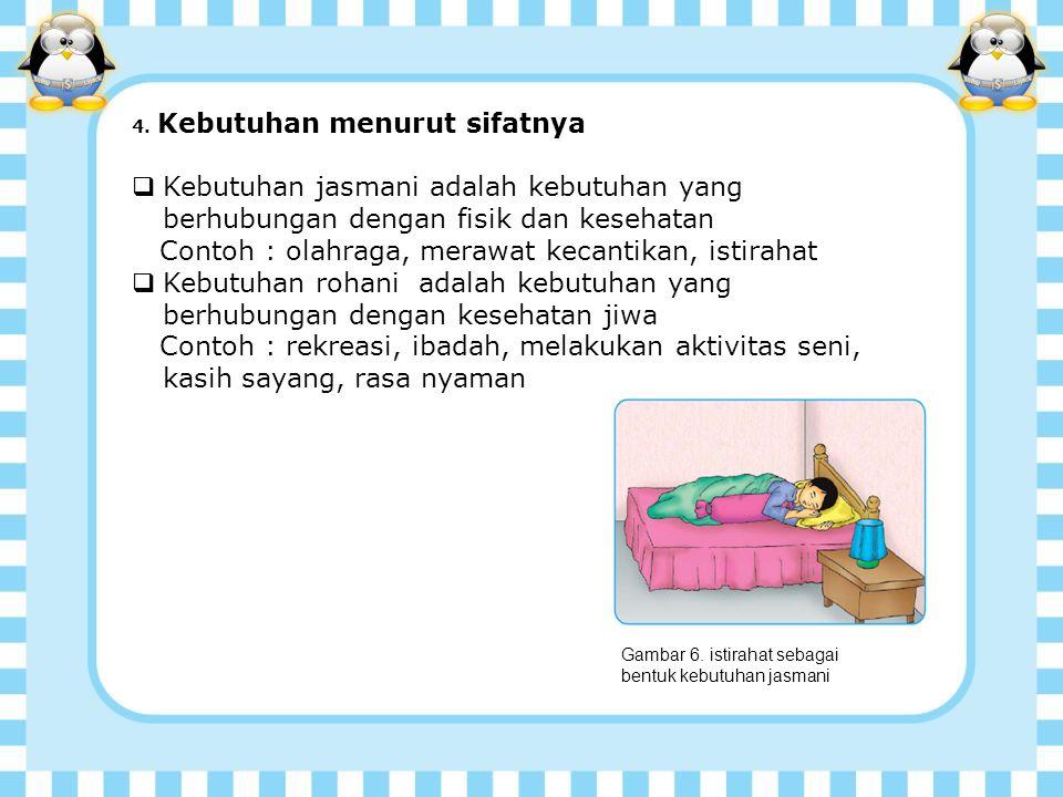 Contoh : olahraga, merawat kecantikan, istirahat