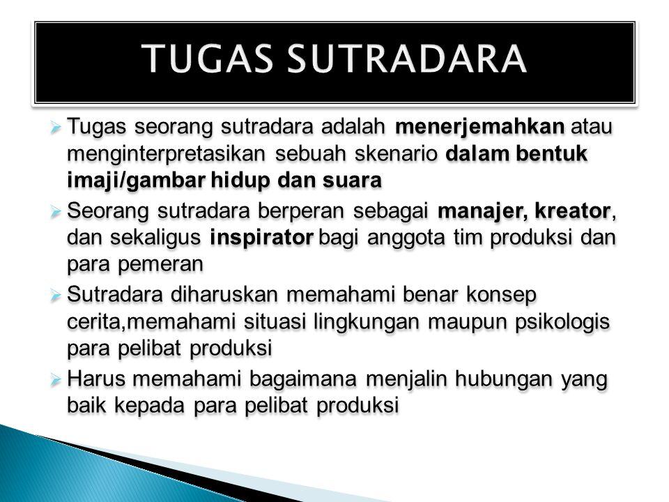 TUGAS SUTRADARA Tugas seorang sutradara adalah menerjemahkan atau menginterpretasikan sebuah skenario dalam bentuk imaji/gambar hidup dan suara.