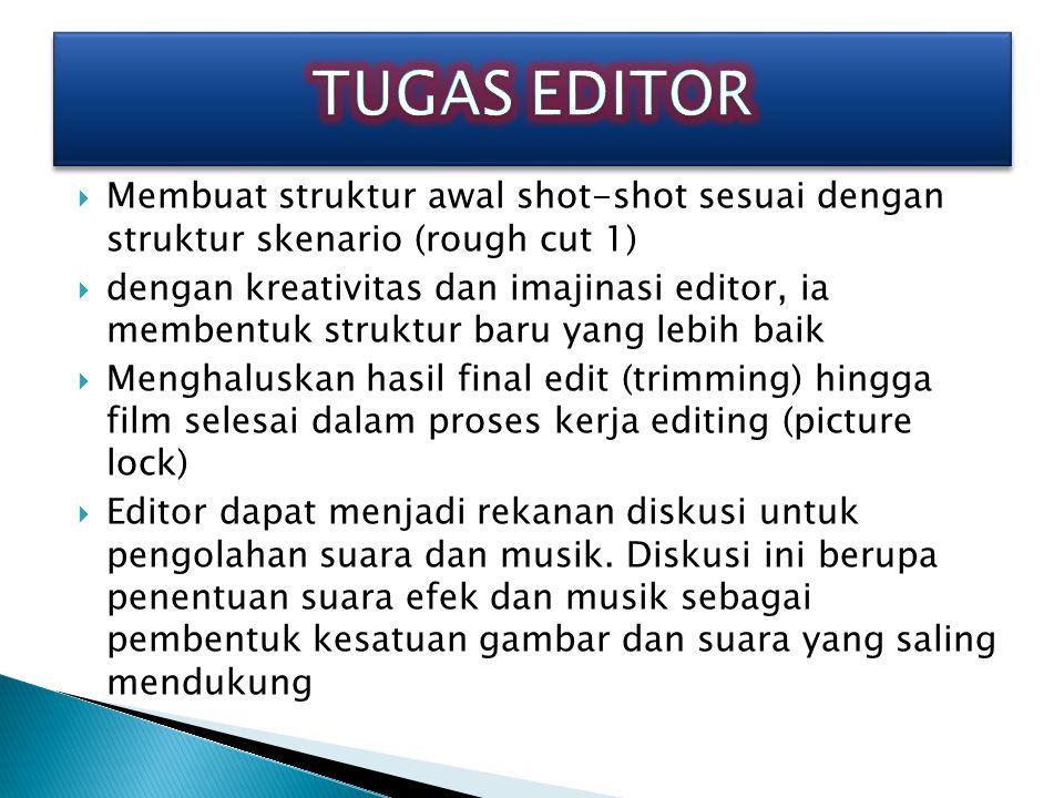 TUGAS EDITOR Membuat struktur awal shot-shot sesuai dengan struktur skenario (rough cut 1)