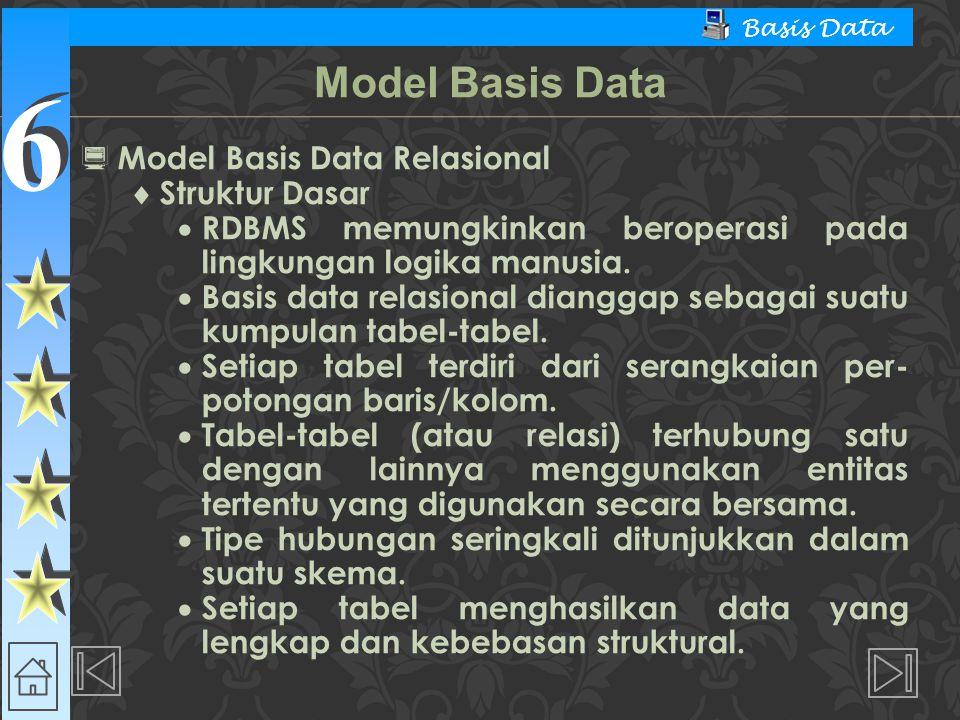 Model Basis Data Model Basis Data Relasional Struktur Dasar