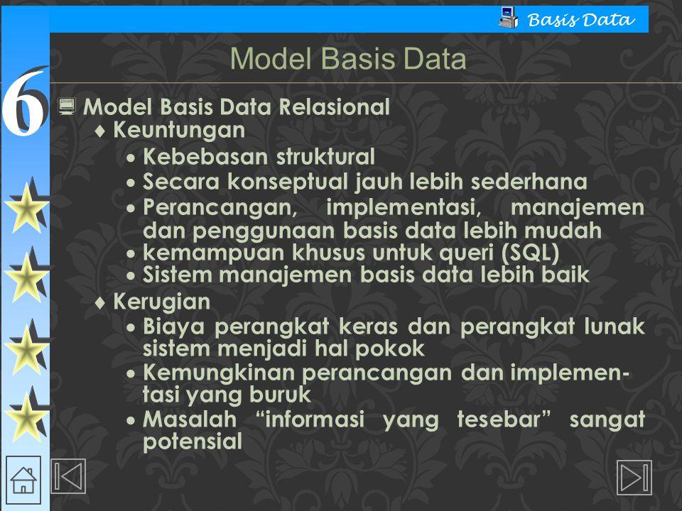 Model Basis Data Model Basis Data Relasional Keuntungan