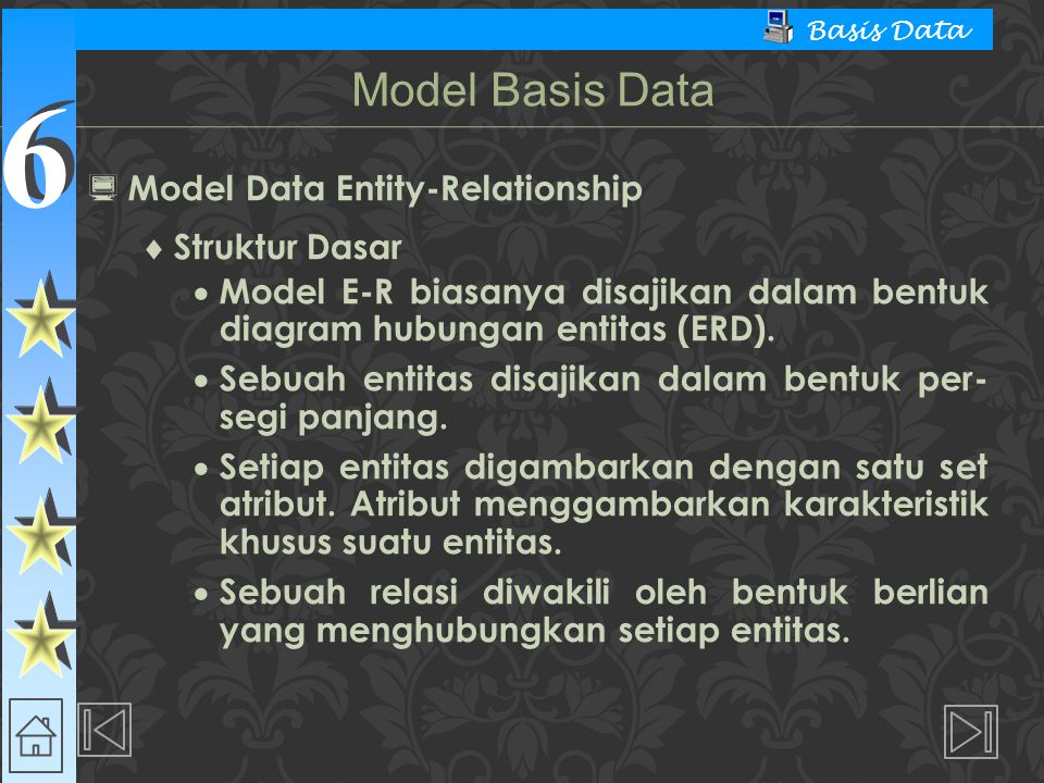 Model Basis Data Model Data Entity-Relationship Struktur Dasar